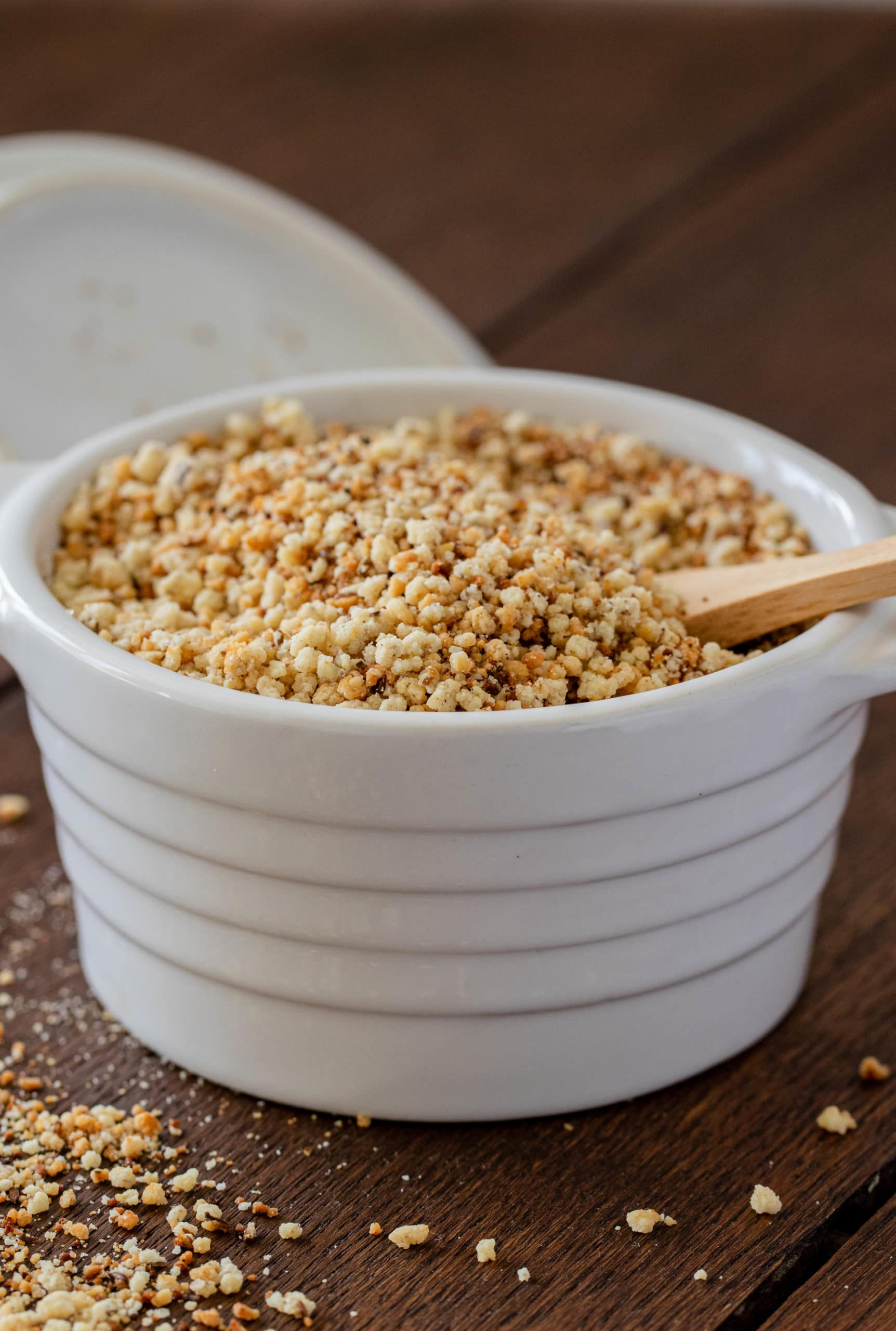 Gluten free bread crumbs made with almond flour.
