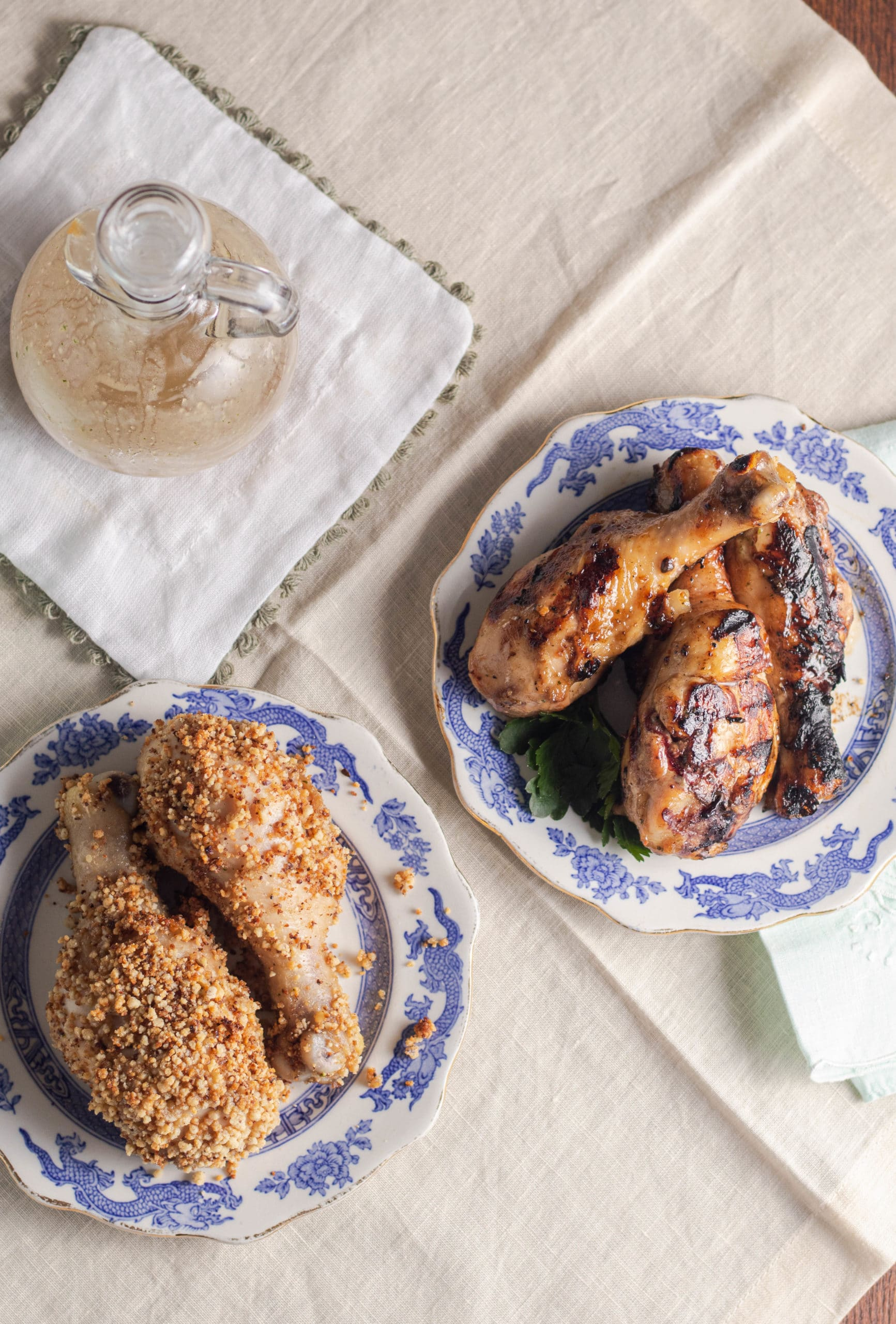 Marinated chicken drumsticks are baked till crispy or grilled.