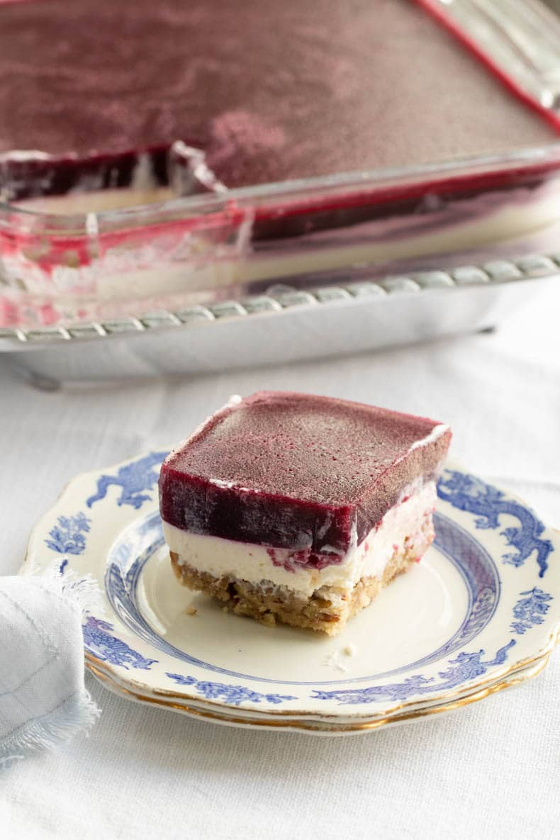 Keto strawberry pretzel salad with clean ingredients and zero added sugar.