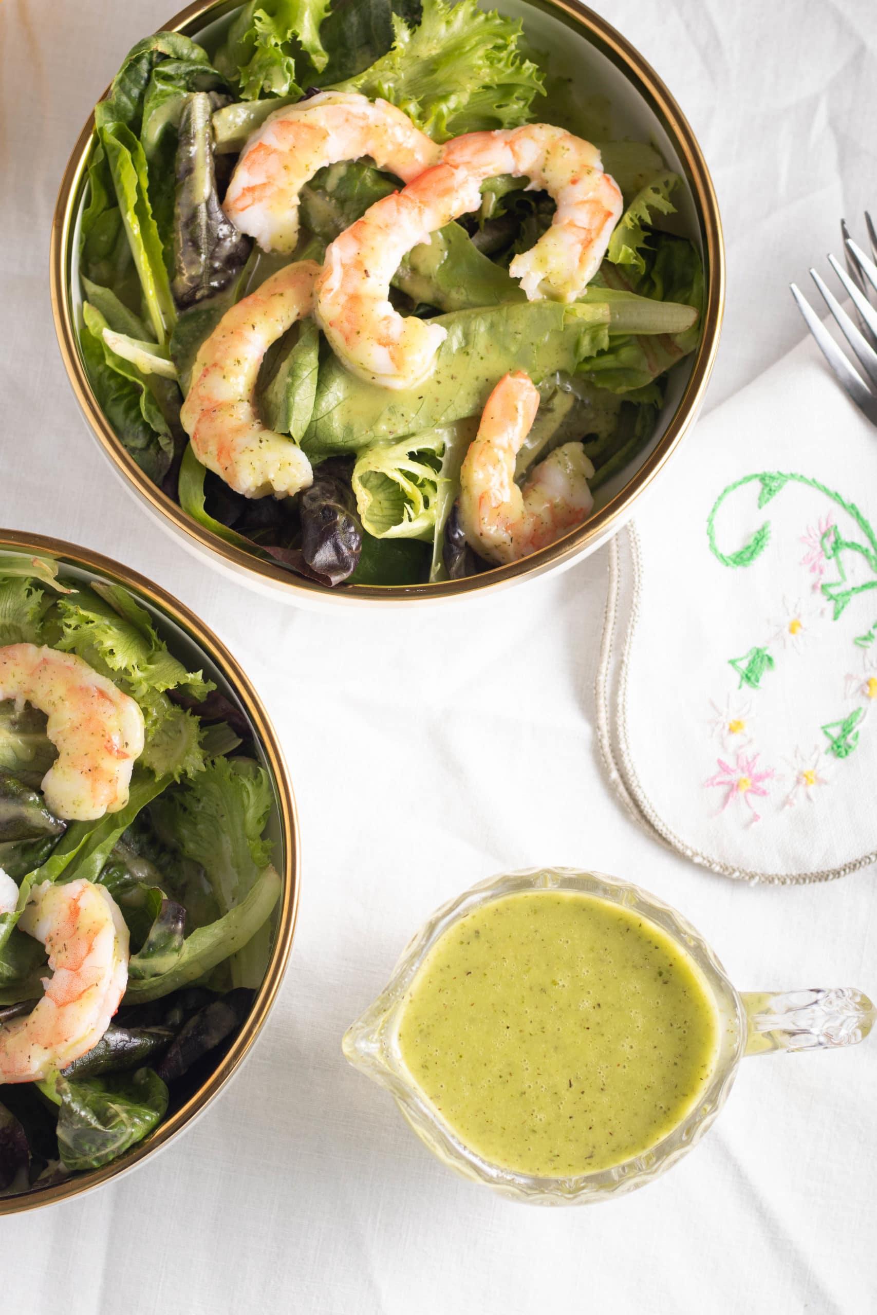 Garlic and herb vinaigrette low carb salad dressing.