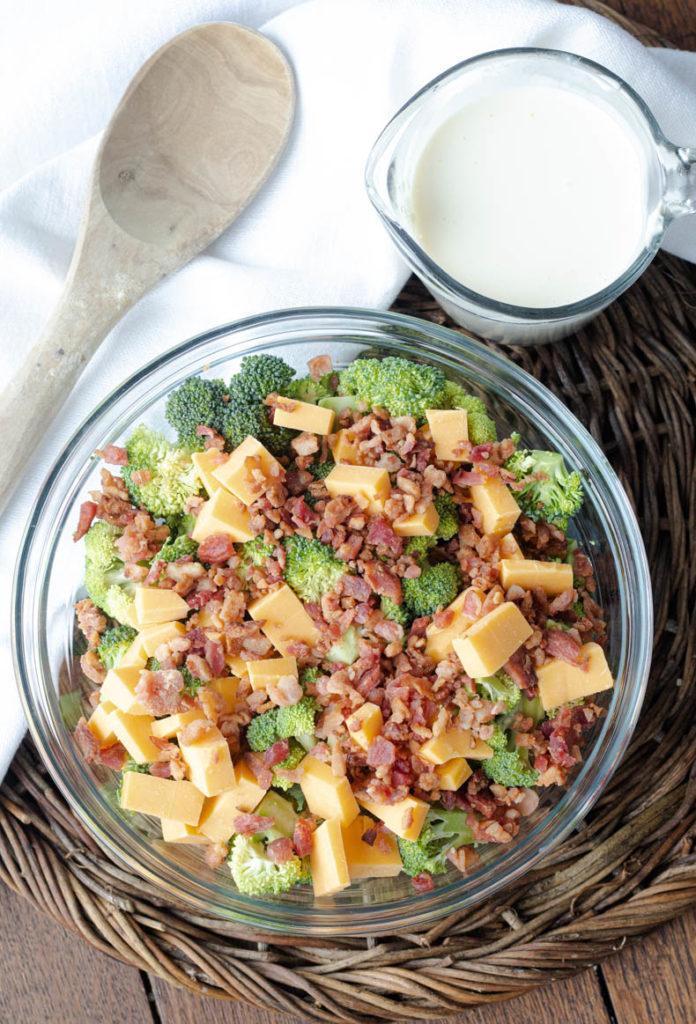 Ingredients for healthy keto broccoli salad.